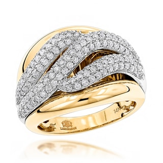 Luxurman 14k Gold 1 1/4ct TDW Diamond Wave Cocktail Ring