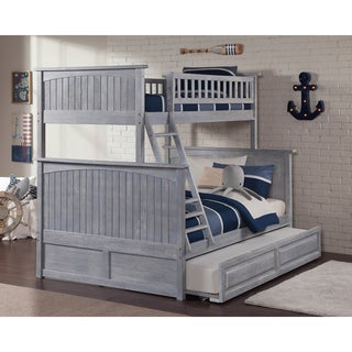 Nantucket Driftwood Washed Grey Twin over Full Bunk Bed with Twin Sized Raised Panel Trundle