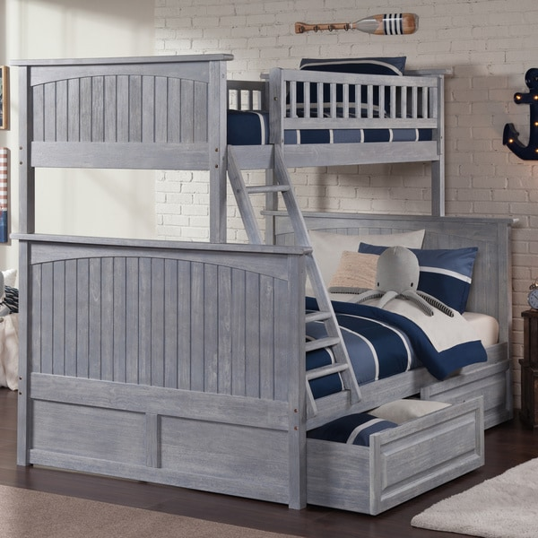Nantucket Driftwood Washed Grey Twin over Full Bunk Bed with Raised Panel Drawers