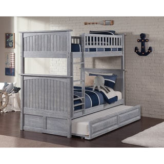 Nantucket Bunk Bed Twin over Twin with Twin Sized Raised Panel Trundle in Driftwood
