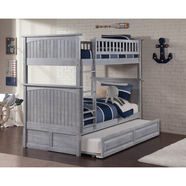 4c693c865ea73 Richmond Full Platform Bed with Flat Panel Foot Board and Twin Size Urban  Trundle Bed in Walnut
