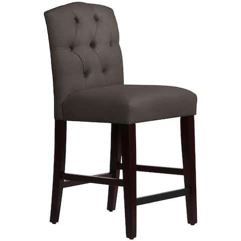 Skyline Furniture Tufted Arched Counter Stool in Linen Slate