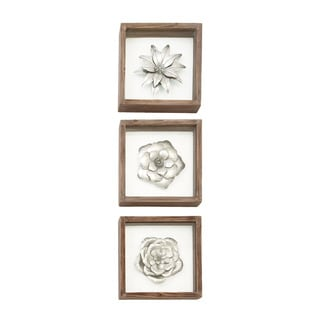 Urban Designs Metal Flowers Framed Wall Art (Pack of 3)