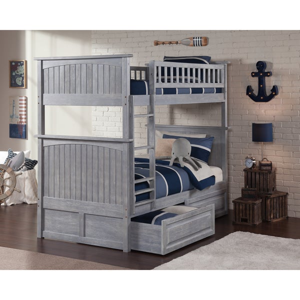 Shop Nantucket Driftwood Washed Grey Twin Over Twin Bunk Bed With