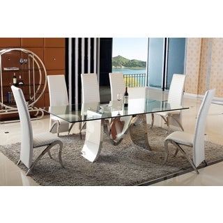 Bellini Susanna Stainless Steel and Glass 7-piece Dining Set