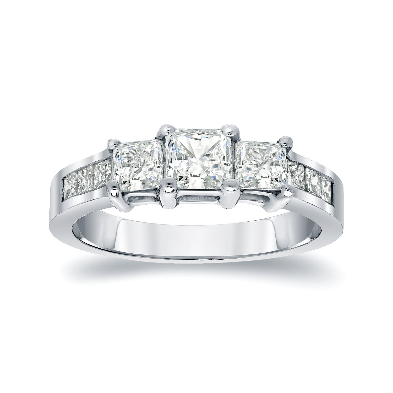 Auriya Platinum 1/2ct TDW Princess-Cut Diamond Engagement...