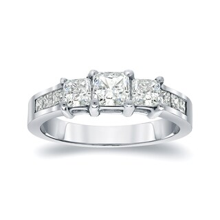 Auriya Platinum 1/2ct TDW Princess-Cut Diamond Engagement Ring