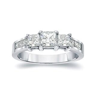 Auriya Platinum 1/2ct TDW 3-Stone Princess-Cut Diamond Engagement Ring