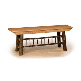 Rustic 5 Foot Farm Bench - Hickory & Oak or All Hickory