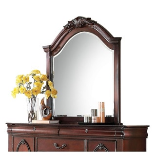 Acme Furniture Estrella Dark Cherry Finished Pine Beveled Mirror