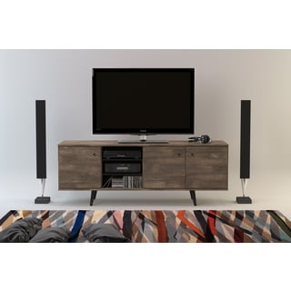 Midtown Concept Barcelona Grey MDF Mid-Century 3-Cabinet TV Stand