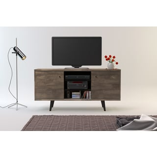 Midtown Concept Barcelona Mid-century 3-shelf Grey MDF TV Stand