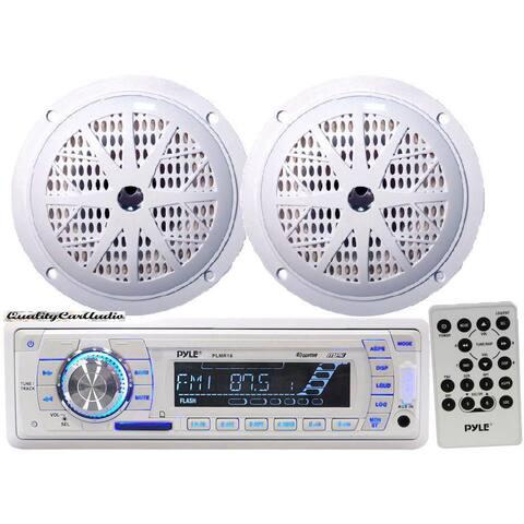 Pyle KTMRGS44 Marine Stereo AM FM Radio Receiver USB/SD iPod/MP3 Player 2 Speakers
