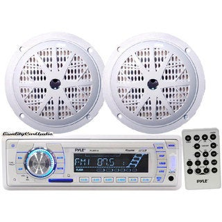 "Pyle KTMRGS44 Marine Stereo AM/FM Radio Receiver USB/SD iPod/MP3 Player + 2 x 100W 4"" Speakers"