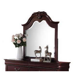 Acme Furniture Gwyneth Cherry Pine/MDF/Veneer Beveled Mirror