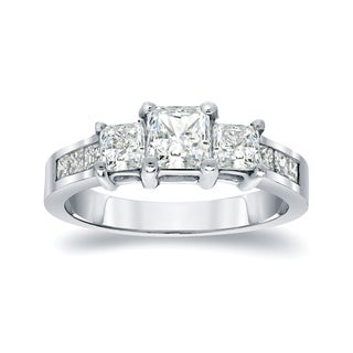 Auriya Platinum 1 1/2ct TDW Princess-Cut Diamond Engagement Ring