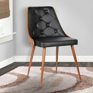 Armen Living Lily Walnut Wood/Black Faux Leather Mid-century Dining Chair