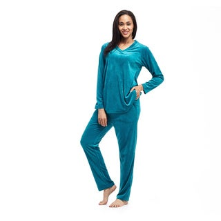 Women's Velour Long-sleeve Top and Pant Set
