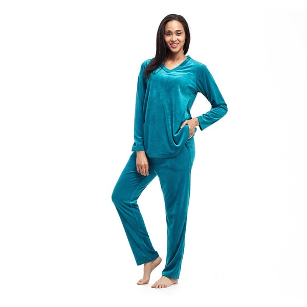 Women's Velour Long-sleeve Top and Pant Set. Opens flyout.