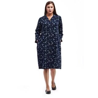 La Cera Women's Navy Cotton Button-front Corduroy Shirt Dress