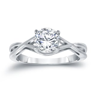 Auriya Platinum 1ct TDW Round Cut Diamond Solitaire Engagemet Ring
