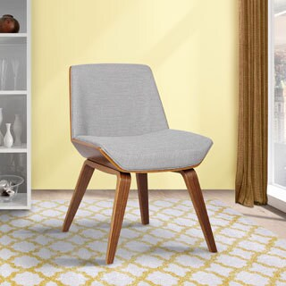 Armen Living Agi Mid-century Walnut Wood and Fabric Dining Chair
