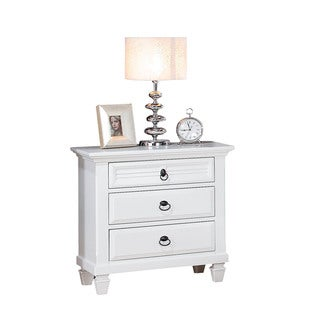 Acme Furniture White Wood Merivale 3-drawer Nightstand