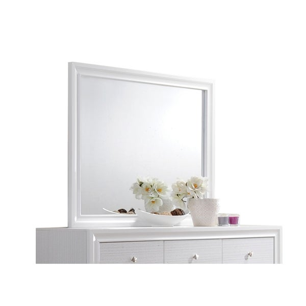 Acme Furniture Naima White Rubberwood Mirror