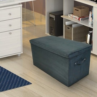Microsuede Folding Storage Bench