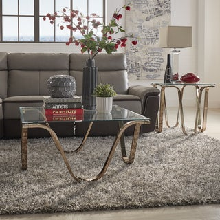 MID-CENTURY LIVING Reverberate Glass Top Metal Occasional Tables