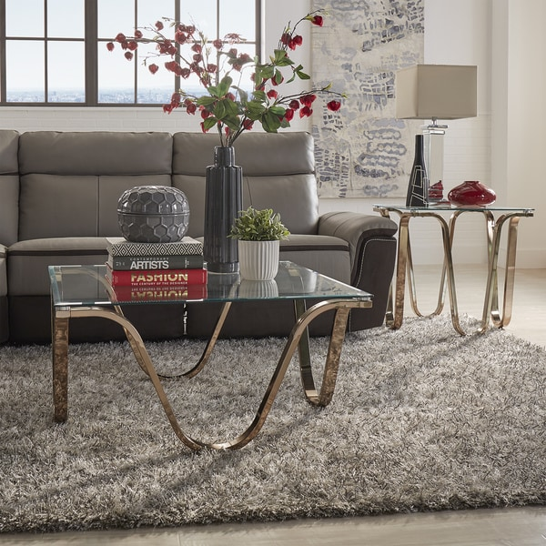 Shop Reverberate Glass Top Champagne Gold Metal Occasional Tables