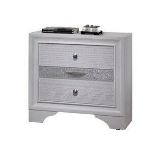 Acme Furniture Naima White Rubberwood 3-drawer Nightstand With Jewelry Compartments