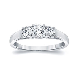 Auriya Platinum 1ct TDW Round Diamond 3-Stone Engagement Ring