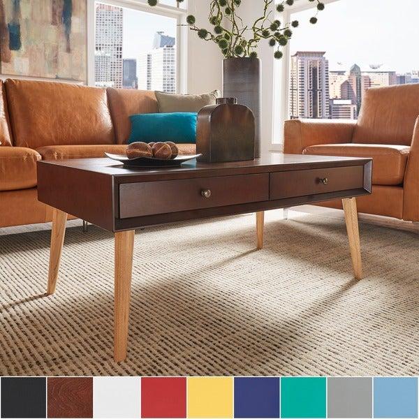 Marin Danish Modern 2 Drawer Accent Coffee Table INSPIRE Q Modern