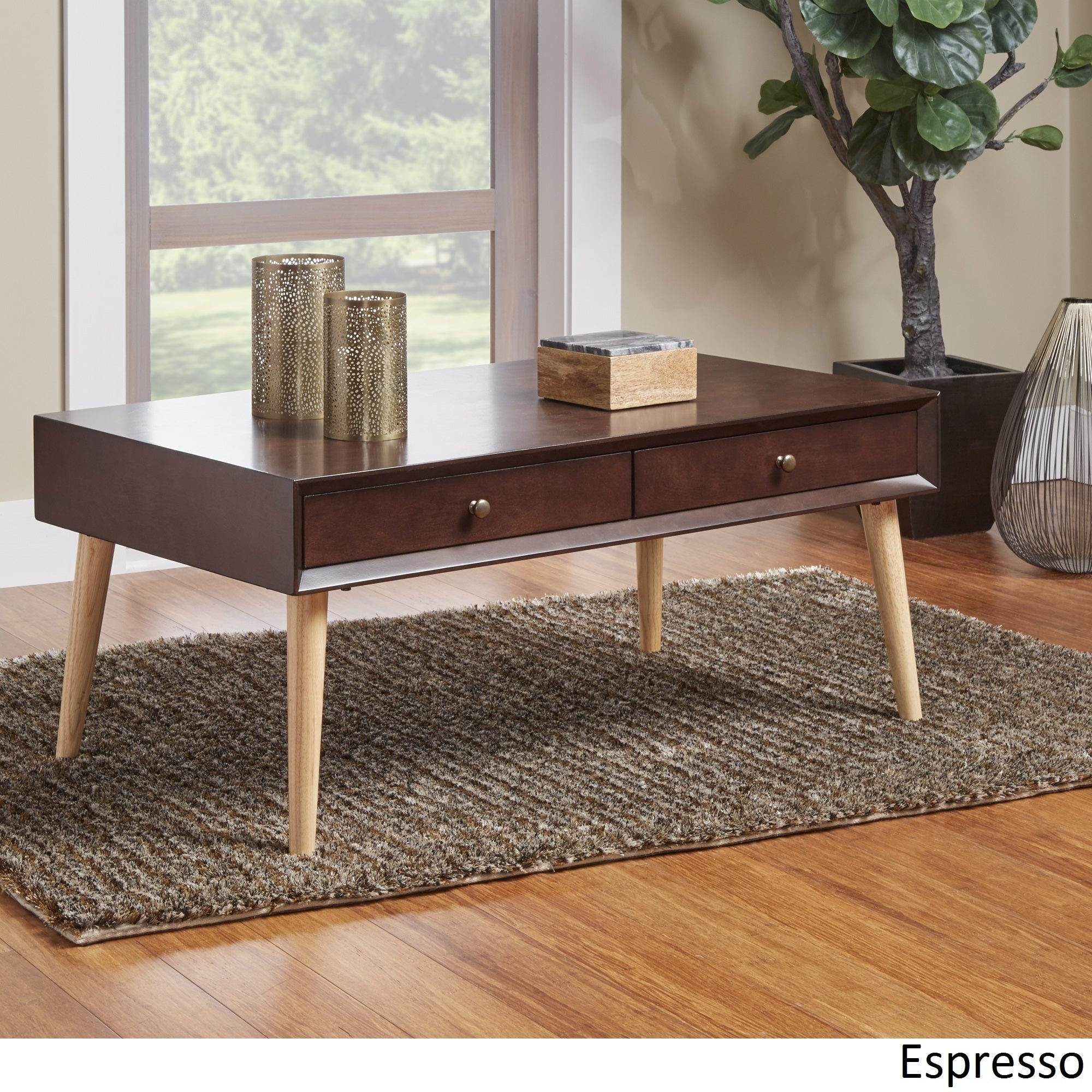 Marin Danish Modern 2-drawer Accent Coffee Table INSPIRE Q