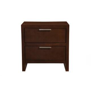 Alpine Urban Merlot Brown Wood and Veneer 2-drawer Nightstand
