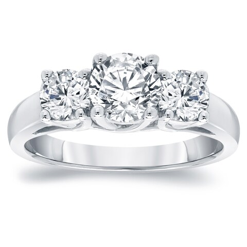 Auriya Platinum 2ct TDW Round 3-Stone Diamond Engagement Ring
