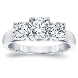 Auriya Platinum 2ct TDW  3-Stone Round Diamond Engagement Ring