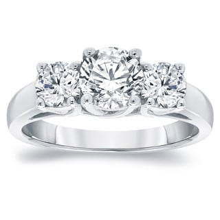 Auriya Platinum 2ct TDW Round Diamond 3-Stone Engagement Ring