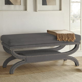 Coaster Company Wooden Bench with Grey Upholstery