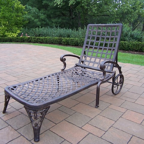 Havenside Home Robbinston Cast Aluminum Wheeled Chaise Lounge