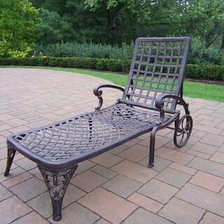 Gracewood Hollow D'Annunzio Cast Aluminum Wheeled Chaise Lounge