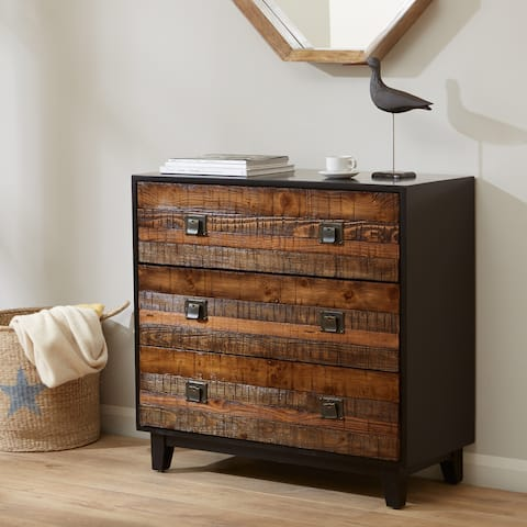 Madison Park Gale Chestnut Chattered Wood Accent Chest