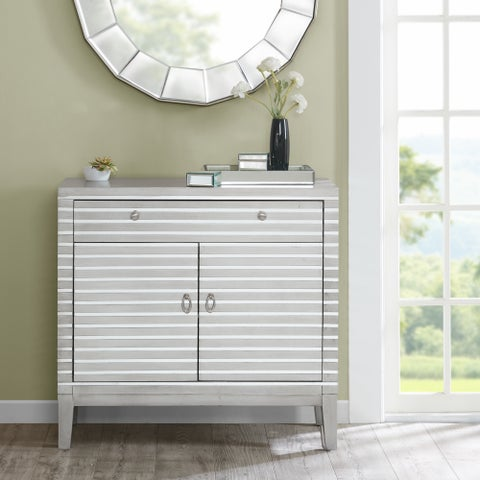 Madison Park Campbell Silver Mirror Stripe Accent Chest