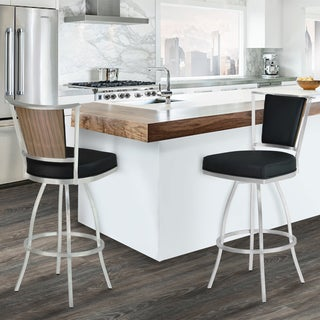 Armen Living Delhi Brushed Stainless Steel, Black Faux Leather, and Walnut Veneer Barstool