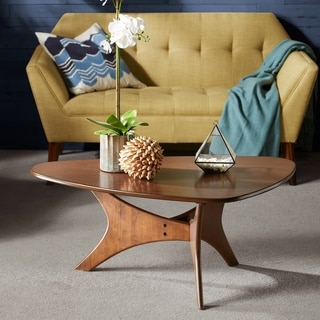 Carson Carrington Telsiai Brown Wood Triangular Coffee Table