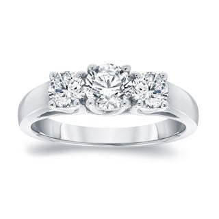 Auriya Platinum 1 3/4ct TDW Round Diamond 3-Stone Engagement Ring (I-J, I1-I2)