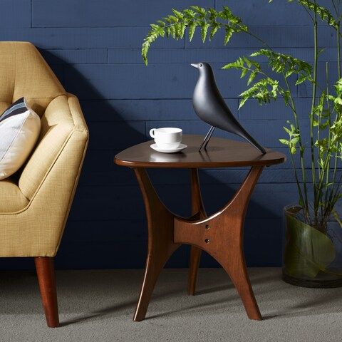 INK+IVY Blaze Brown Triangle Wood Side Table