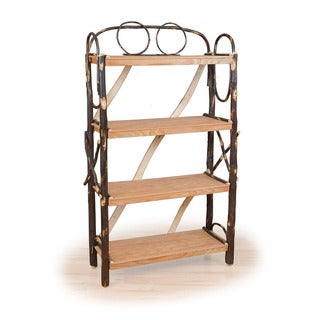 Rustic All Hickory OR Hickory & Oak Four Shelf Fancy Book Case