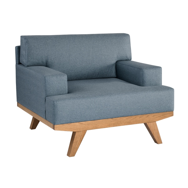 Shop Ink Ivy Martin Blue Natural Mid Century Accent Chair